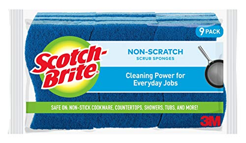 Scotch-Brite Non-Scratch Scrub Sponges, Cleaning Power for Everyday Jobs, Lasts 50% Longer than the Leading National Value Brand, 9 Scrub Sponges