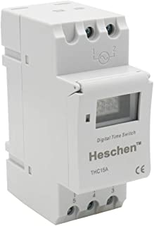 Heschen, interruptor de relé de temporizador semanal de alimentación, Digital, LCD, THC15A, CA 220a240V, 16A SPST, 35mm, carril DIN
