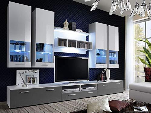 KRYSPOL Wohnwand ALFA II Anbauwand, Wohnzimmer-Set, Modern Design (Weiß/Weiß Hochglanz + Grau...