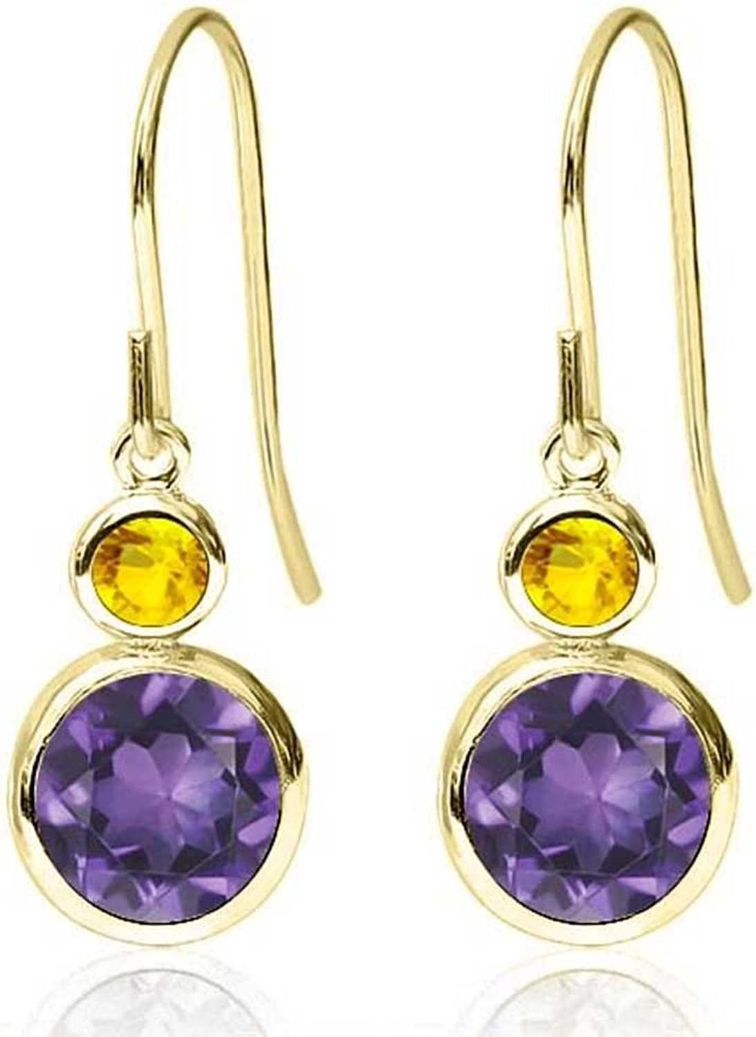 1.76 Ct Round Purple Amethyst Yellow Sapphire 14K Yellow gold Earrings