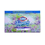 Clorox Fraganzia Fabric Softener Dryer Sheets   Scented Laundry Dryer Sheets for Great Smelling Clothes   Beautiful Lavender Scent Laundry Sheets, 105 Count - 6 Pack