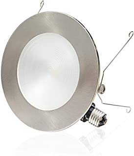 """6"""" LED Recessed Light, 2 in 1 Trim Color Options, 12W Dimmable LED Recessed Downlights, Retrofit LED Can Lights, Slim LED Ceiling Light, LED Recessed Lighting Fixtures, 3000K, 1 Pack"""