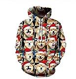 Un Grupo De Perros Lindos Sudadera con Capucha Colorida De Manga Larga con Capucha Sudadera con Capucha De Gran Tamaño Hombres Impresión Digital 3D Camiseta Sweater-XXXL