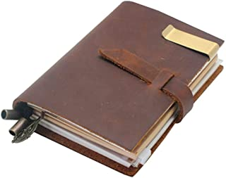 BOSHIHO Leather Journal Diary Notebook - Genuine Crazy Horse Buffalo Vintage Leather Bound Refillable Organizer with Unlin...