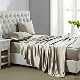 Lanest Housing Silk Satin Sheets, 4-Piece King Size Satin Bed Sheet Set with Deep Pockets, Cooling and Soft Hypoallergenic Satin Sheets King - Taupe
