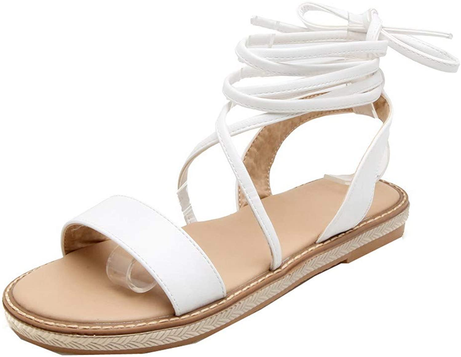 WeenFashion Women's Imitated Suede Lace-Up Open-Toe Low-Heels Solid Sandals, AMGLX010243