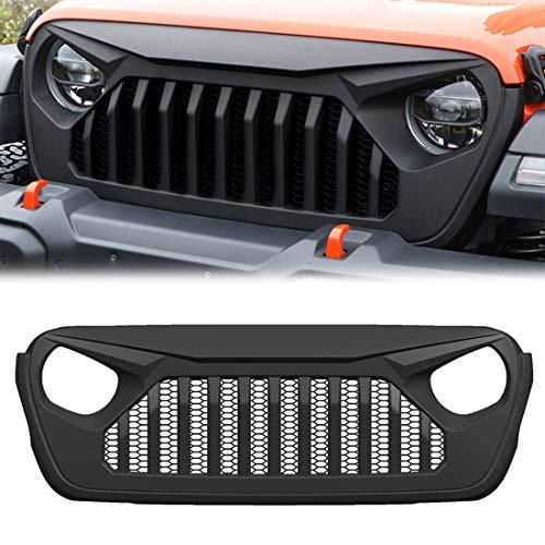 CStern Rejilla Frontal de Radiador Parrilla de Malla del Coche Negra Mate para Jeep Wrangler JL 2018 2019 2020