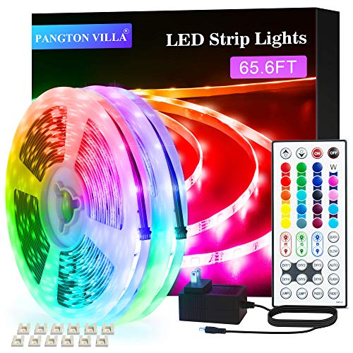 PANGTON VILLA Led Strip Lights 65.6 ft for Bedroom, Room RGB Color kit with Remote and Power Supply