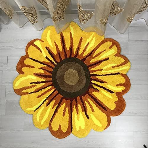 Alfombra Tridimensional con Forma De Flor, Felpa De Crisantemo Pastoral En La Sala De Estar Y Dormitorio, Alfombra Antideslizante De Forma Especial Junto A La Cama