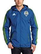 100% Polyester Ripstop Hide Away Hood With Screen Print Addias Logo. By Adidas The Official Outfitter Of The Mls. Machine Wash Cold Separately Gentle Cycle Only Non-Chlorine Bleach When Needed Tumble Dry Low Remove Promptly Use Cool Iron If Necessary...