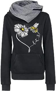Women Bee Pullover Sweatshirt Casual Hoodie Long Sleeve Printed Top Blouse Beautyfine