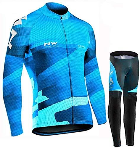 ZLYY Manga Ciclismo Conjunto Larga de los Hombres del Verano, de Secado rápido Camisa Maillot Transpirable for completar un Ciclo Pantalones Cortos con una Gamuza 9D (Color : B, Size : 4XL)