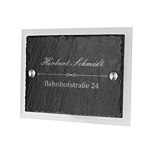 Ardoise plaque de porte avec verre acrylique avec gravure personnalisée motif famille Nom avec rue avec numéro de maison