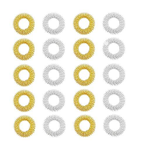 Masajeador de dedos,20 Piezas Acupresión Masajeador de dedos,Masaje Anillos,para Adolescentes, Adultos, Reductor de estrés silencioso y Masajeador (Dorado, Plateado)