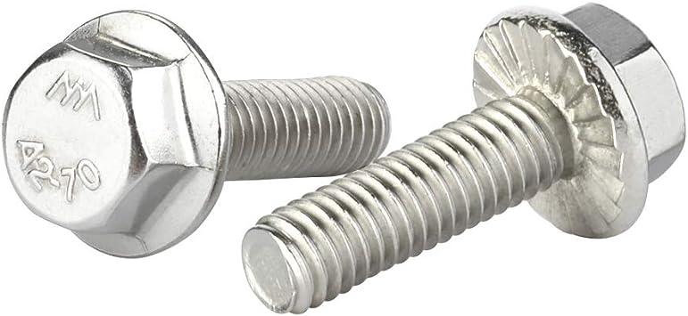 25 PCS DIN 6921 M5-1.0 x 35mm Flanged Hex Head Bolts Flange Hexagon Screws Stainless Steel A2