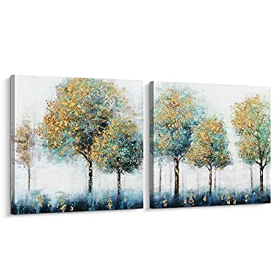 Pigort Canvas Wall Art - Fantastic Abstract Green and Golden Trees - Gold Foil Art Stretched Canvas Painting Modern Wall Decor Ready to Hang by Pi Art