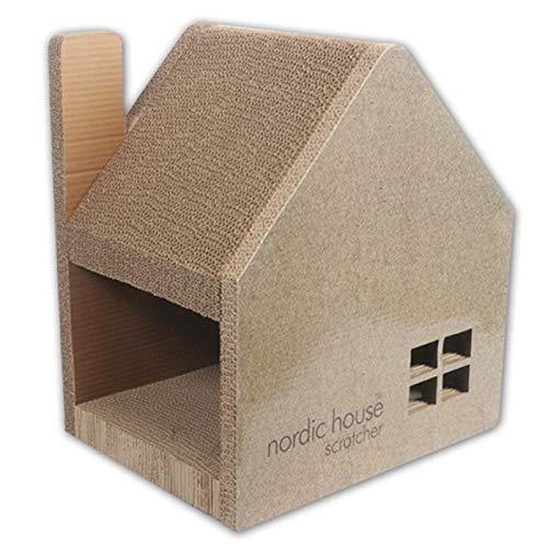 YAOMI Wood ノルディックハウス スクラッチャー 猫 爪とぎ 高密度段ボール 耐荷重