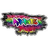 MySticky Custom Name Deep Concrete Border Graffiti Wall Decal - Personalized Vinyl Sticker (MYSPGN43-Small)