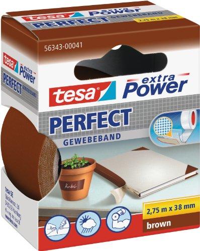 tesa extra Power Perfect Gewebeband - Gewebeverstärktes Ductape zum Basteln, Reparieren, Befestigen, Verstärken und Beschriften - Braun - 2,75 m x 38 mm