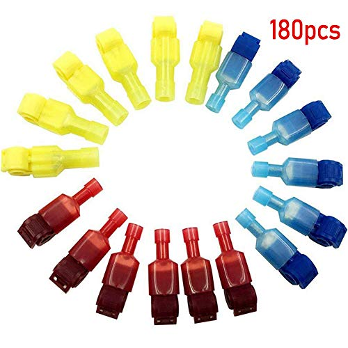 Lesai T-Abzweigverbinder 180pcs(90 pairs) kabelverbinder kfz - 3 Größe T-Tap: Rot 30 Paare, Blau 30 Paare, Gelb 30 Paare