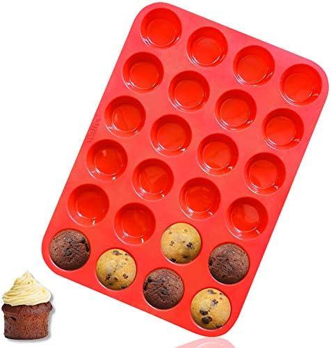 Walfos Mini Silicone Muffin Pan 24 Cups Mini Cupcake Pan BPA Free and Dishwasher Safe Non stick product image