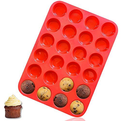 Walfos Mini Silikon Muffinform, 24 Tassen Mini Cupcake Pfanne, BPA-frei und spülmaschinenfest, Antihaft-Silikon Backform, ideal für die Herstellung von Muffin Kuchen, Torte, Brot