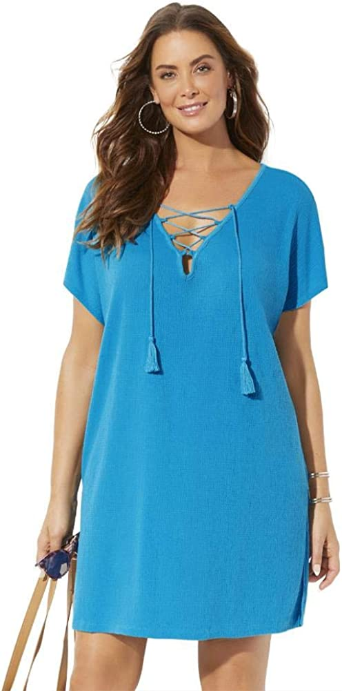 Swimsuits For All Women's Plus Size Esme Lace Up Cover Up Dress