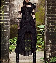 COSWE Women's Black Lace Punk Irregular Dress Steampunk Skirt Cosplay Costume (3XL) #5