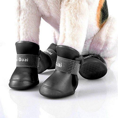 NA/ Marginf 4PCS Black Pet Waterproof Rain Shoes Boots Socks Anti-Slip Rubber Boot Dogs US