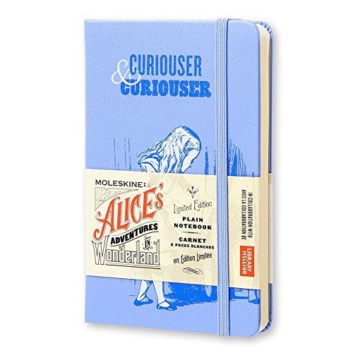 Moleskine Limited Edition Alice in Wonderland Notebook, Hard Cover, Pocket (3.5 x 5.5) Plain/Blank, Powder Blue, 192 Pages