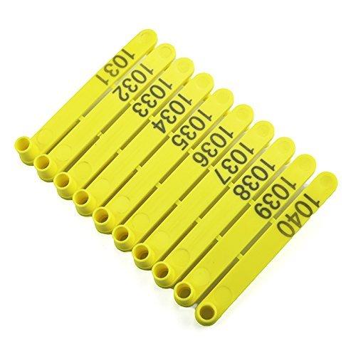 Étiquettes d'oreille en une pièce avec numéro 001-100 pour chèvre, mouton, bovin, porc, animal, marqueur, outil universel, Tagger, perforateur, pinces, fournitures agricoles (001-100)