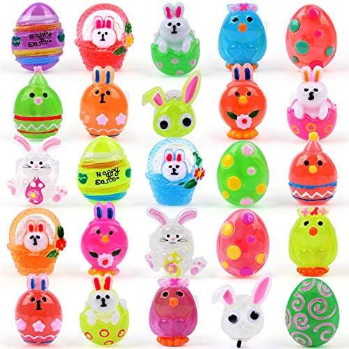 FLY2SKY 25Pc Easter Basket Stuffers Easter Egg Fillers 3D LED Finger Lights Up Rings Easter product image