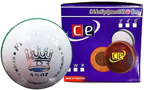 CE Fireworks White Leather Cricket Ball by Cricket Equipment USA 5 5 Ozs Fireworks White product image