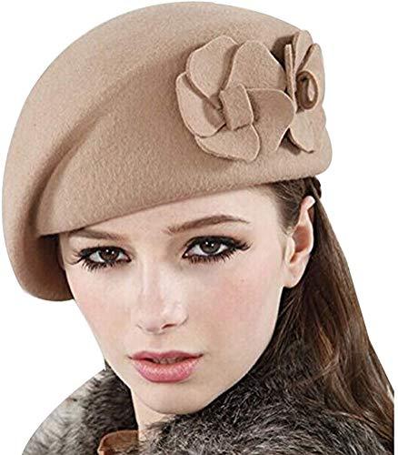 Gorro de lana ajustable para mujer, con diseño de flores, estilo francés, gorro de invierno cálido, gorro de lana vintage, gorro de invierno cálido para mujer