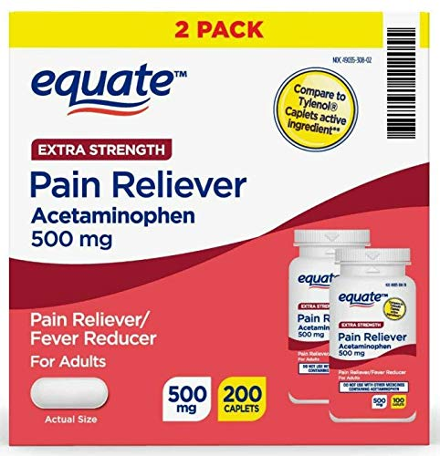 Equate Extra Strength Pain Reliever - Acetaminophen 500 mg 100 Caplets (2 Pack)