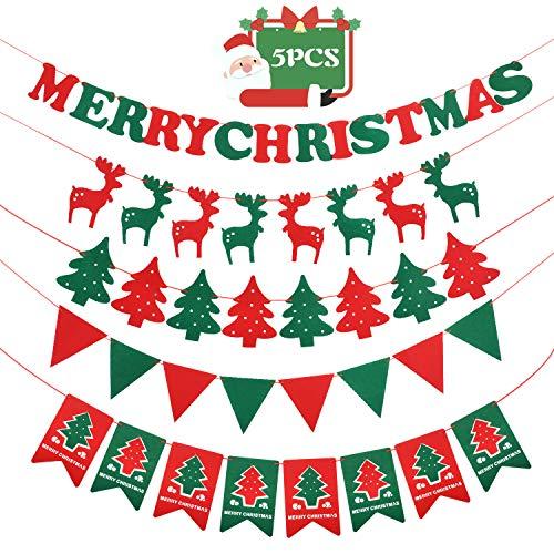 Navidad decoración casa Feliz Navidad Banner - Navidad material fieltro Banner Decoración para el hogar Decoración navideña
