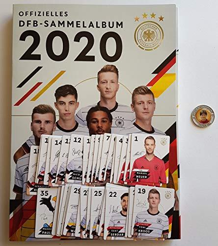 Rewe EM 2020 DFB - Sammelkarten - Album mit Allen 35 Verschiedene Normale Karten + 1 Fußballmünze der WM 2006 - Joachim Löw
