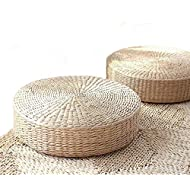 DUOSHIDA Tatami Floor Pillow Sitting Cushion,Round Padded Room Floor Straw Mat for Outdoor Seat(2 Pack 19.7x4.3)