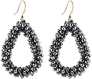 XISENHAN Handmade Teardrop Crystal Beads Earrings For Woman Beaded Braid Pendant Earring Big Long Earrings
