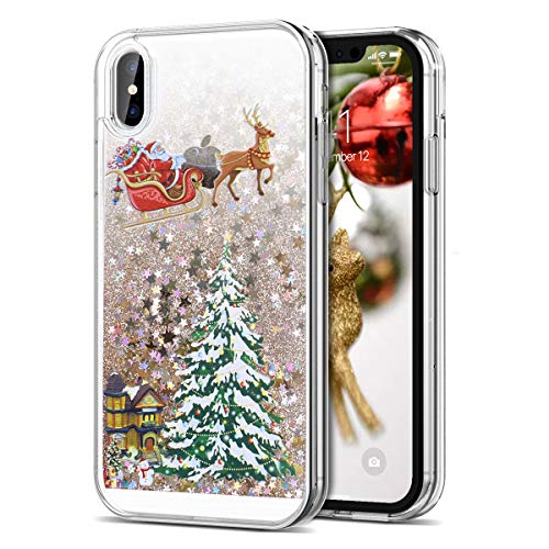 CinoCase iPhone Xs Max Case 3D Liquid Case [Christmas Collection] Flowing Quicksand Moving Stars Bling Glitter Snowflake Christmas Tree Santa Claus Pattern Hard Case for iPhone Xs Max 6.5 inch Gold