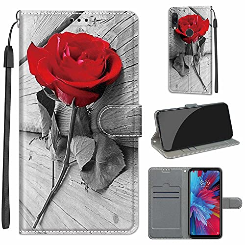 WGR Hülle für Xiaomi Redmi Note 7 / Note 7 Pro, Stoßfestes Flip-Holster, Premium Leder PU Handyhülle, Flip Hülle Wallet mit [Magnetic Closure] für Xiaomi Redmi Note 7 / Note 7 Pro