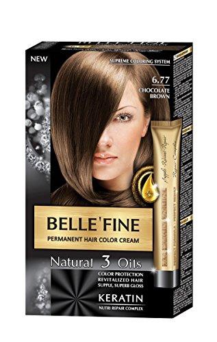BELLE'FINE® Black Series - Luxuriöse natürliche Haarfärbecreme - langanhaltende Farbe - mit 3 Ölen & Keratin - SCHOKOLADENBRAUN