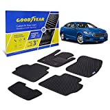 Goodyear Custom Fit Car Floor Liners for Ford Fusion 2013-2016, Black/Black 5 Pc. Set, All-Weather Diamond Shape Liner Traps Dirt, Liquid, Precision Interior Coverage - GY004048