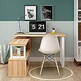 Escritorio moderno en forma de L para el hogar y la oficina de 2 pisos, mesa giratoria para ordenador portátil, mesa de esquina, estación de trabajo más grande, fácil de montar B 140 cm