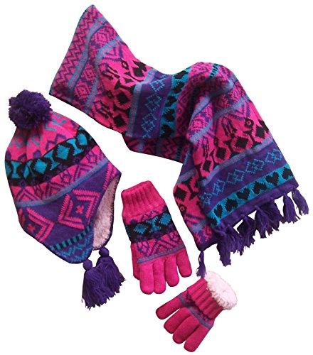 N'Ice Caps Big Girls Sherpa Lined Geo Print Hat/Scarf/Glove Knitted Set (8-12 Years, purple/turq/fuchsia/black)