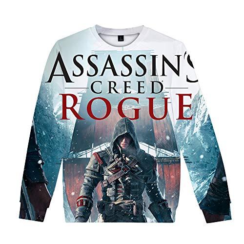 Assassin'S Creed Camiseta Unisex Animado 3D Impreso Pullover Suelta la Camiseta de Manga Larga Camiseta Hombres Mujeres Unisex (Color : A06, Size : Height-180cm(Tag XL))