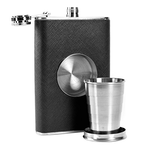 TechAffect Flachmann mit integriertem Cup–klappbar Shot Glas–227ml Fläschchen Edelstahl & Teleskop Becher–Whisky Vodka Brandy Rum Shorts Container