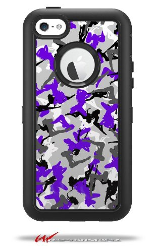 Sexy Girl Silhouette Camo Purple - Decal Style Vinyl Skin fits Otterbox Defender iPhone 5C Case (CASE Sold Separately)