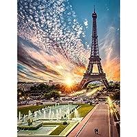 風景ダイヤモンドクロスステッチキット、エッフェル塔5Dフルドリルダイヤモンド絵画キットDIYアートクラフトギフト、実践的なラインストーン刺繍、ハンズオン能力30 * 40cm Tower12