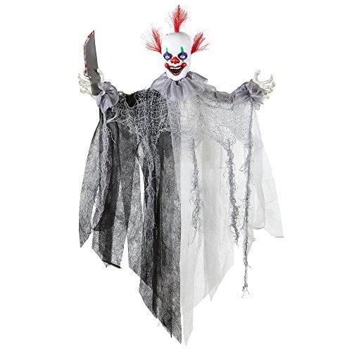 Widmann 01392 - Killer Clown mit Messer, animiert mit leuchtenden Augen und Zirkusmusik, Größe Circa 60 cm